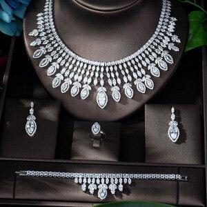 Image 2 - HIBRIDE جديد كامل AAA زركون الكبير Pendientes طقم مجوهرات للنساء الزفاف اكسسوارات الزفاف بارور بيجو فام N 1151