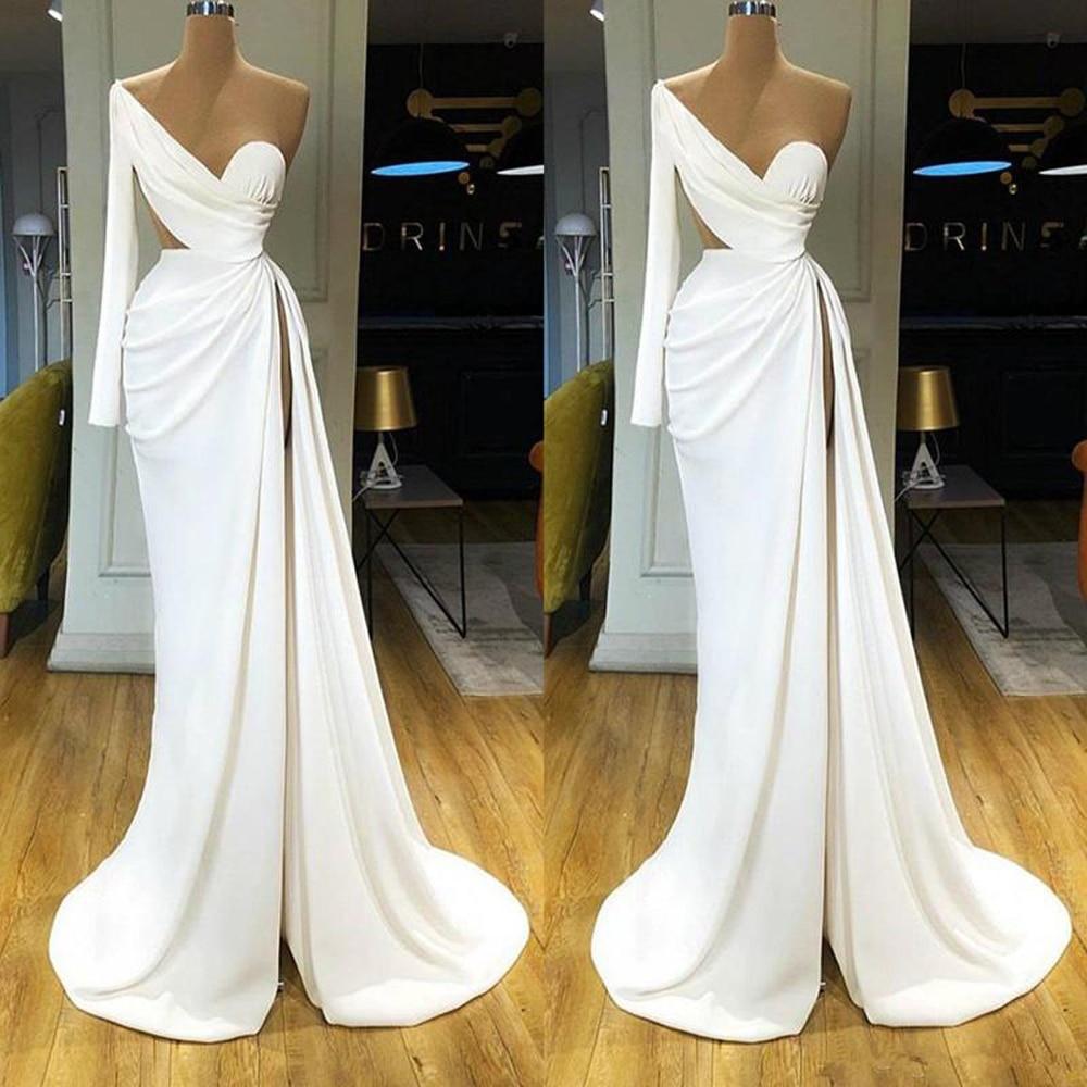 2020 Mermaid Prom Dresses High Side Split Satin One Shoulder Long Sleeve Evening Gowns Sweep Train Custom Made Robe de Soiree