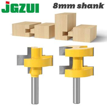 2pcs 8MM Shank T-Slot Square Tooth Tenon Milling Cutter Carving Knife Router Bits for Wood Tool Woodworking