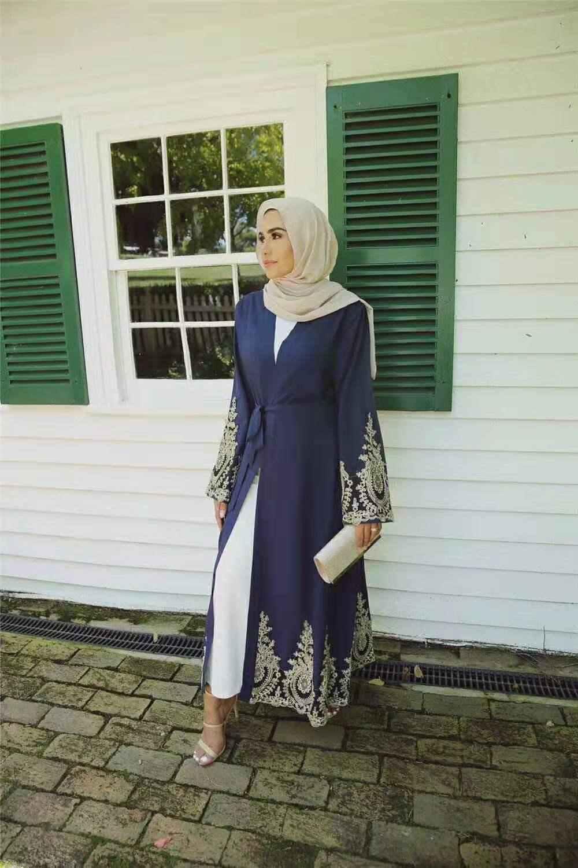 Vestido muçulmano dubai laço kaftan jilbab abaya