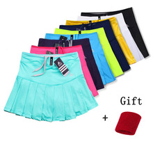 Новые теннисные юбки для девочек с защитными шортами, быстросохнущая Женская юбка для бадминтона, женские теннисные юбки, спортивные шорты для девочек