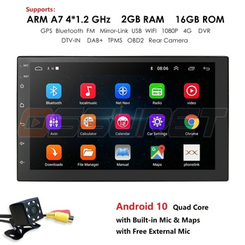 7 INCH Android 10 GPS Navigation Autoradio Multimedia NO DVD Player Bluetooth WIFI MirrorLink OBD2 Universal 2Din Car Radio Mic image