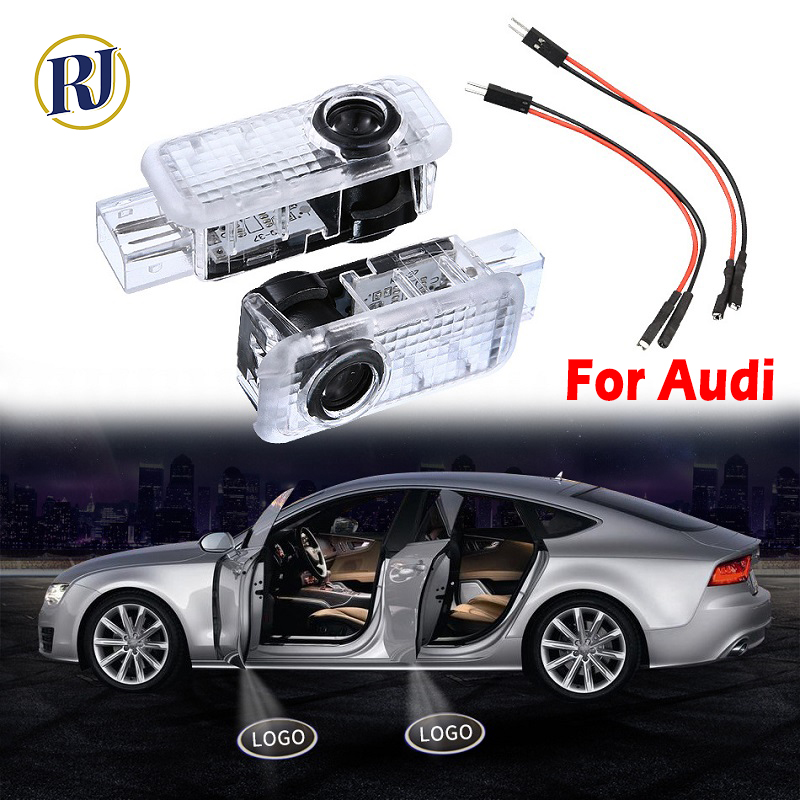 2PC Car LED Door welcome Logo Projector <font><b>Light</b></font> For <font><b>Audi</b></font> A1 A3 A4 A5 A6 A7 A8 B4 B6 B8 R8 Q3 Q5 Q7 TT TTS RS S 3 4 5 <font><b>6</b></font> <font><b>7</b></font> 8 Lamp image