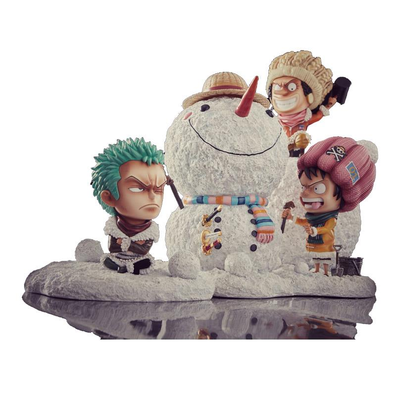 Free Shipping One Piece Luffy Action Figure Anime Luffy ZORO Make A Snowman Snow man Model Kids Toys Xmas Christmas Gifts B19