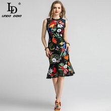 LD LINDA DELLA Fashion Runway Summer Dress abito da donna aderente senza maniche in pizzo Vintage con ricami floreali a sirena