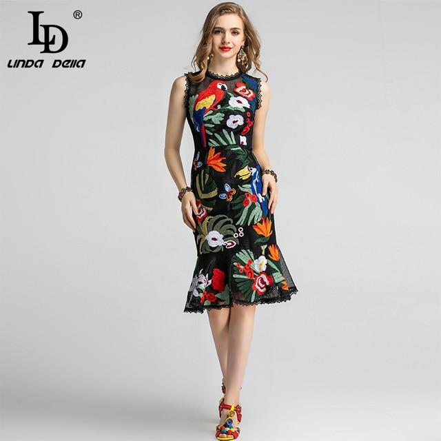 LD LINDA DELLA-robe dété en dentelle sans manches, Vintage, broderie de fleurs, style sirène, volants et moulante