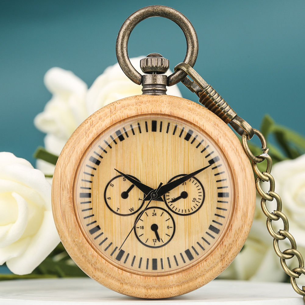 Natural Bamboo Men Quartz Pocket Watch Round Dial With Roman Numerals Watches Bronze Pendant Chain