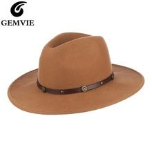 GEMVIE Wide Flat Brim 100% Wool Fedora Hat Camel Felt For Women/Man Leather Belts New Warm Winter Panama Jazz Cap