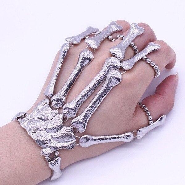 Halloween Fingerless Gloves Women Fashion Props Gift Nightclub Party Punk Finger Bracelet Gothic Skull Glove Guantes Invierno