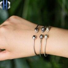 Skull Simple Bracelet S925 Sterling Silver Ladies Fashion Skull Open Bracelet цены