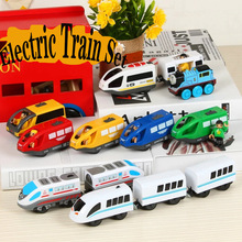 Kids Electric Train Toys Set Magnetic Train Diecast Slot Toy Fit for Standard Wooden Train Track Railway Kids Toys electric train track set magnetic educational slot brio railway wooden train track station puzzles car toys for kids children