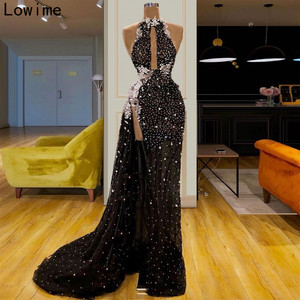 Image 2 - New Fashion Illusion Cocktail Dress Long Sleeveless Halter Pearls Prom Dress Sexy Women Party Gowns Evening Runaway vestidos