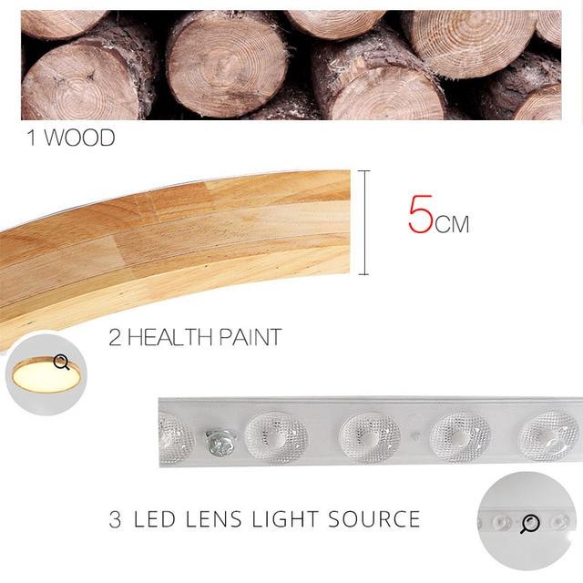 Log LED ultra-cienka lampa sufitowa z litego drewna lampka do sypialni okrągły prosty styl skandynawski balkon lampy japońskie