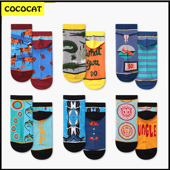 COCOCAT Men Ankle Socks Creative Design Cartoon Animals Pattern Cotton Funny Colorful Short Boat Gift 3pairs / Set