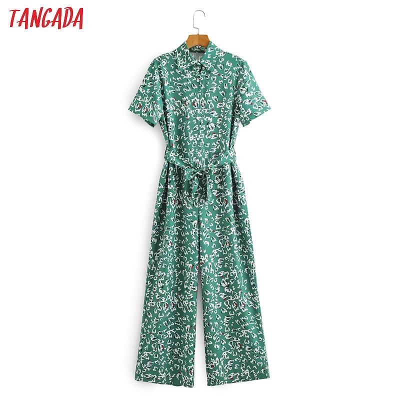 Tangada Women Summer Leaf Print Long Jumpsuit With Slash Short Sleeve Female Casual Jumpsuit Pocket 2F07