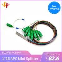 Single Mode Fiber Optical G657A1 PVC 1.5m FTTH 0.9mm Mini PLC Splitter 1x16 SC APC Fiber Optical PLC Splitter