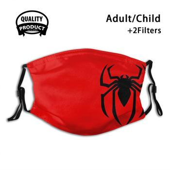 Spider Symbol Diy Adult Kids Face Mask Spider Web Logo Superhero Hero Comic Arachnid Wall Crawler Insect Red Black Comics Movie
