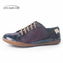 Chaussures dété en cuir pour femmes, balerina, baskets plates de printemps, de groupe, collection sans lacet