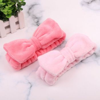 Bow Headband Women Soft Coral Fleece Hairband Solid Hair Ties Girls Turban Wash Face Makeup Head Wraps Cat Ears Hair Accessories image