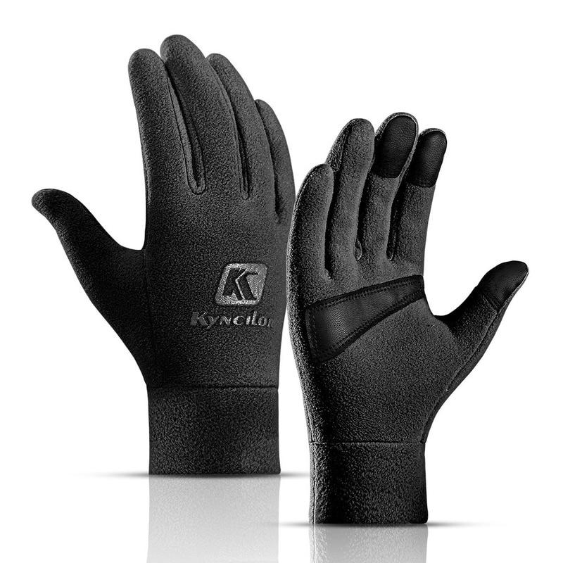 Мужские и женские зимние утолщенные лыжные перчатки для катания на лыжах, теплые флисовые перчатки для занятий спортом на открытом воздухе, велоспортом, велосипедом, полными пальцами, походные перчатки