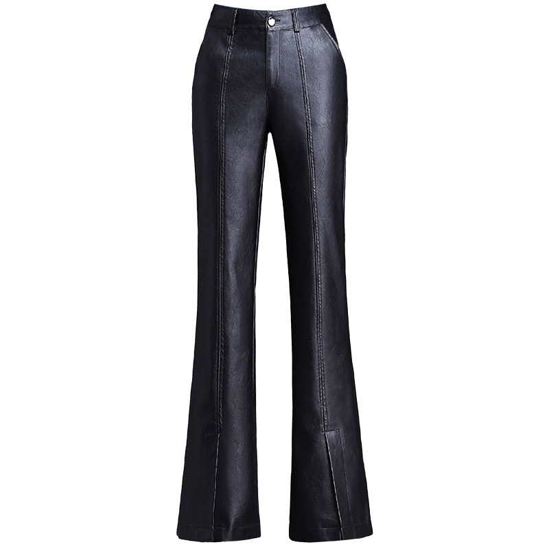 fashion PU leather pants women micro flare trousers 2019 autumn winter new retro high waist leather pants Slim pantalon femme in Pants amp Capris from Women 39 s Clothing