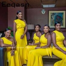 Żółty 2019 tanie sukienka druhna poniżej 50 syrenka jedno ramię długie suknie ślubne dla kobiet