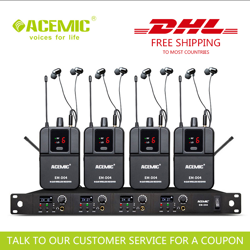 FAST SHIPPING ACEMIC EM-D04 FOUR CHANNEL WIRELESS IN EAR MONITOR SYSTEM STAGE MONITOR GOOD QUALITY IN EARS