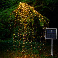 Solar Copper Led String Lights Outdoor 100 Led 200 Leds Waterfall Fairy Icicle Lamp 2M Vines Branch Garden Xmas Tree Decor Light