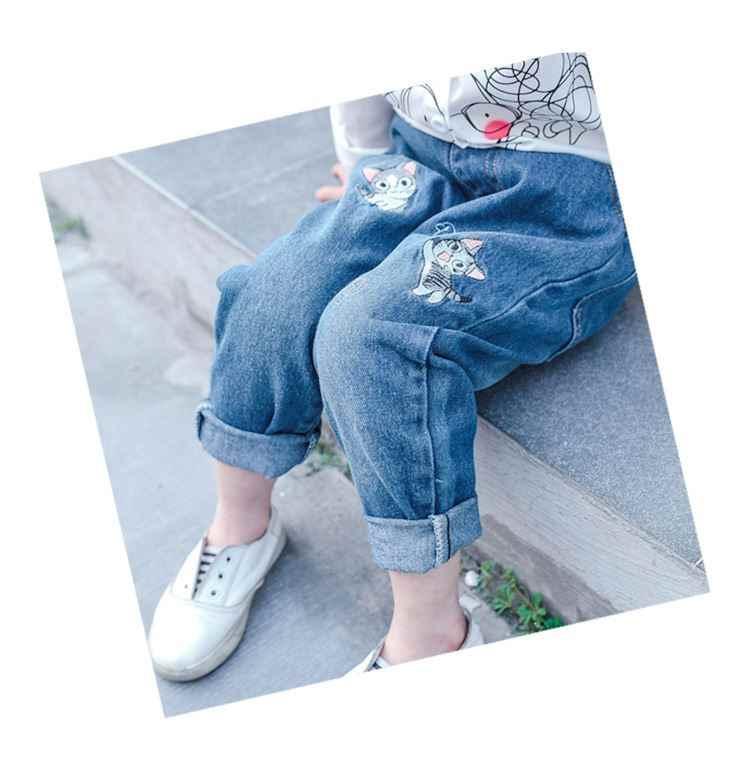 3 ~ 7 bahar sonbahar kızlar güzel kedi nakış kot pantolon çocuklar için kız elastik gevşek Fit denim pantolon rahat
