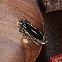 Kinel Vintage siyah taş yüzük kadınlar için antik altın basit büyük taş Rhinestones etnik gelin alyanslar Boho takı