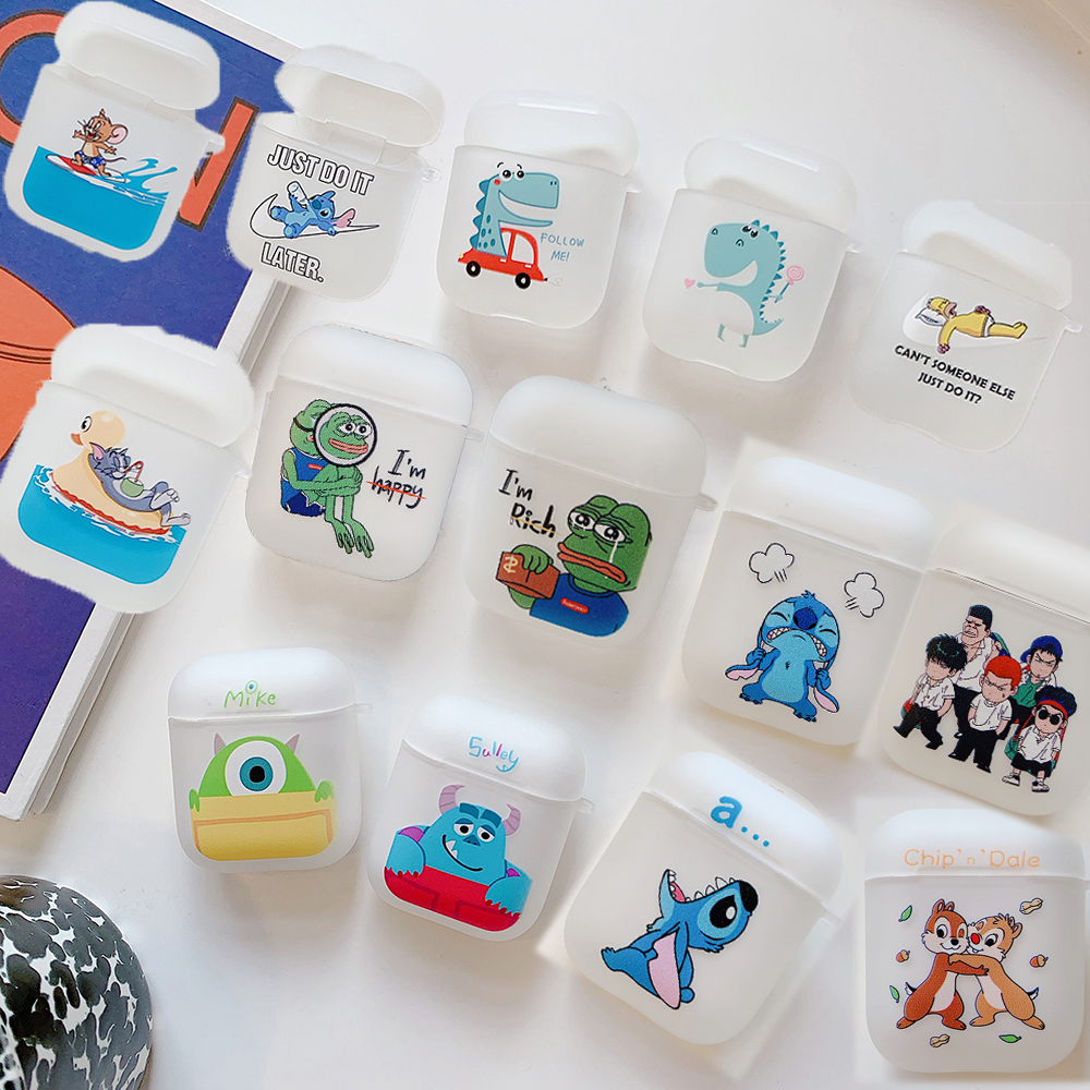 Cartoon TWS Earphone Box Protective <font><b>Cases</b></font> for <font><b>Apple</b></font> <font><b>Airpods</b></font> 1 2 inPods 12 Pepe Frog Tom Cat Jerry Stitch Sulley Matte TPU <font><b>Case</b></font> image