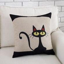 Чехол для подушки с геометрическим рисунком, Модный хлопковый льняной чехол для подушки, милый черный кот, наволочки для подушки, домашний декоративный чехол для подушки s#45