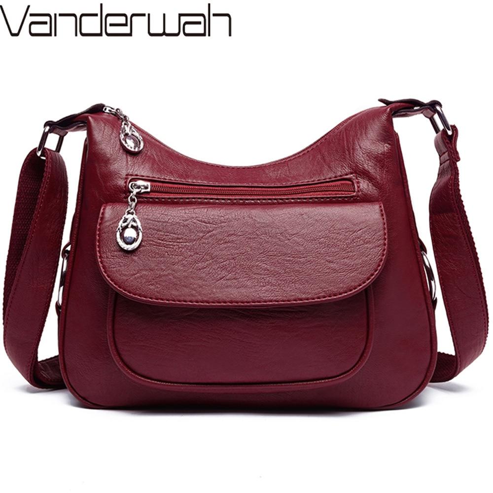 Large Capacity Multi-pocket Women Messenger Bags Female Soft Leather Luxury Shoulder Crossbody Bags For Women Sac A Main Femme