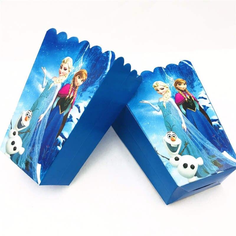 6pcs/Lot Cartoon Frozen Disposable Paper Popcorn Boxes Princess Anna Elsa Theme Birthday Party Baby Shower Popcorn Boxes Supply