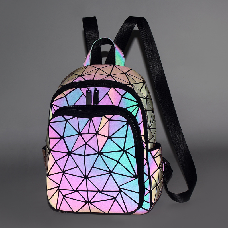 2019 The Latest Diamond Lattice Women Backpack Purse Kawaii Gray Luminous Travel Backpack Fashion Girls Boys School Bags JC10171