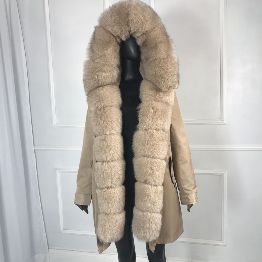 Girl Parka Real Fur Parka With Fox Fur Big Large Fox Fur Collar Liner Rabbit Fur Detachable Natural Fur Coat Female Fox Parkas