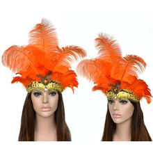 Feather Headdress Mask Carnival Masquerade Christmas Costumes Props  Brazil River Carnival Party Mask Headwear For Lady Headwear