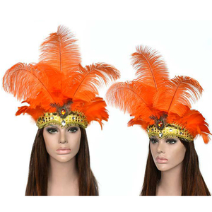 Image 1 - Feather Headdress Mask Carnival Masquerade Christmas Costumes Props  Brazil River Carnival Party Mask Headwear For Lady Headwear