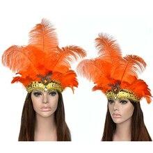 Tüy Headdress maske karnaval maskeli balo noel kostümleri sahne brezilya nehri karnaval parti maskesi şapkalar bayan şapkalar