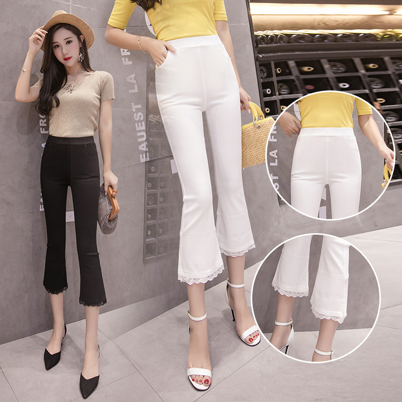Summer Outer Wear 7 Women's Large Size Elastic Waist Women's Thin Bell-bottom Pants Stretch Pants Lace Joint Boot-Cut Leggings