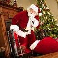 Набор из 5 предметов, рождественский костюм для взрослых из бархатной кожи, одежда Санта Клауса для косплея, костюм для взрослых