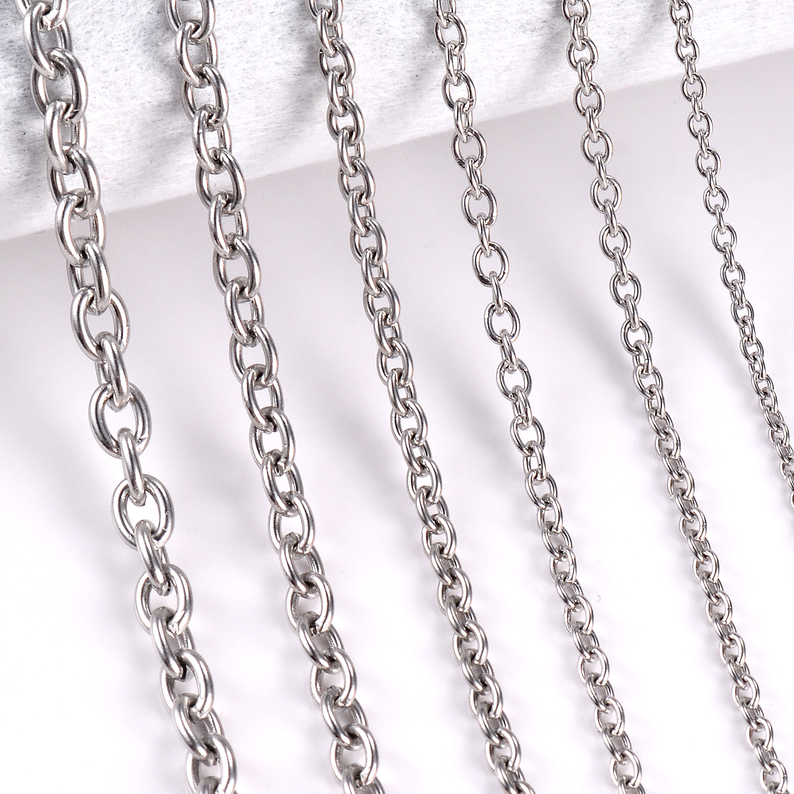 1Pc Stainless Steel Cross O Chain Necklace For Women Men DIY Jewelry Thin Bracelet Necklace