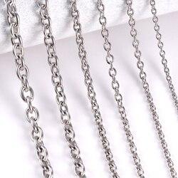 1 шт., ожерелье из нержавеющей стали с круглой цепочкой, для мужчин и женщин, DIY, ювелирные изделия, тонкий браслет, ожерелье