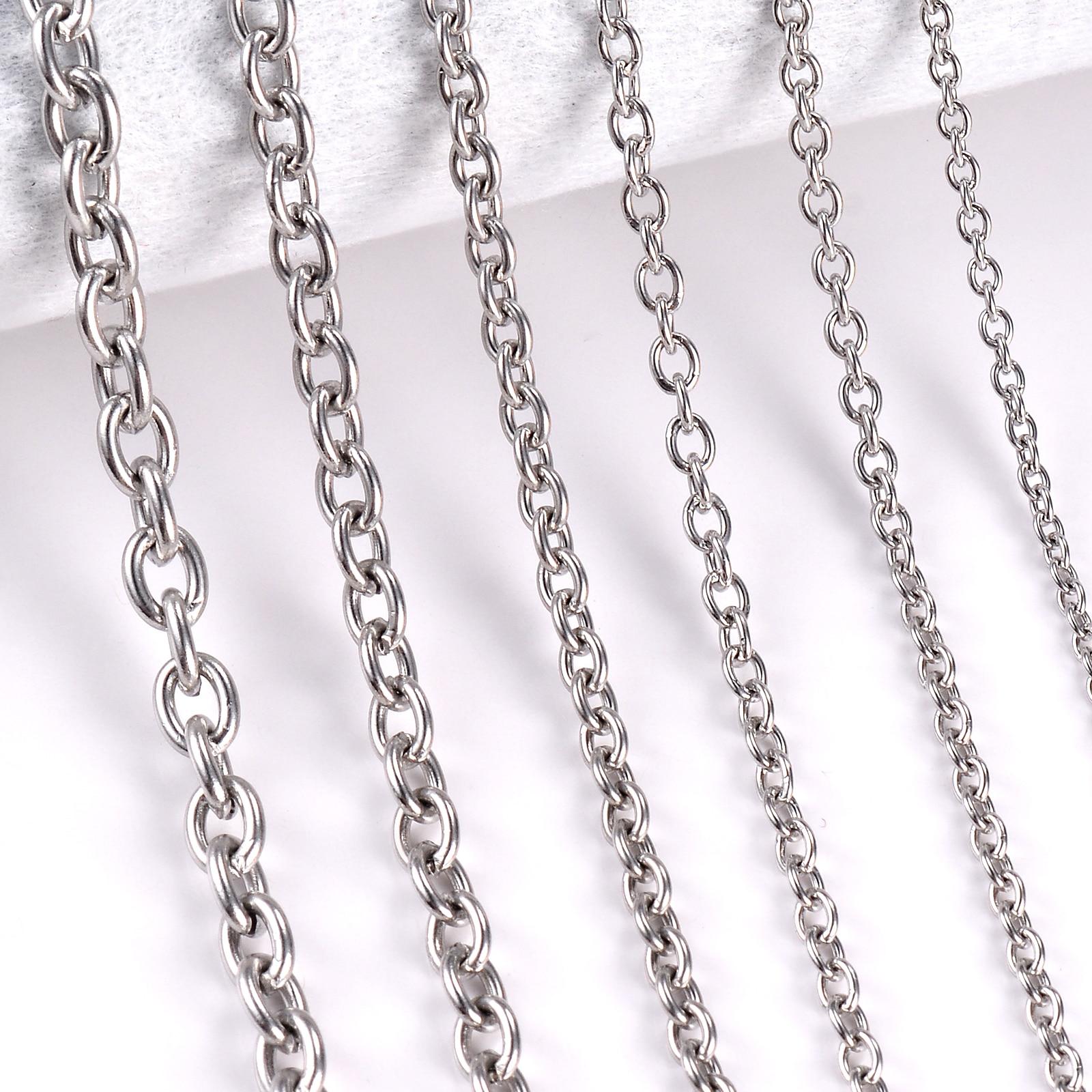 1Pc ze stali nierdzewnej stal krzyżyk O łańcuch naszyjnik dla kobiet mężczyzn DIY biżuteria cienka bransoletka naszyjnik