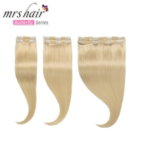 Hair-Extensions Remy-Hair Blonde Straight Clip-In for Women 6pcs 240G Machine Ends Platinum