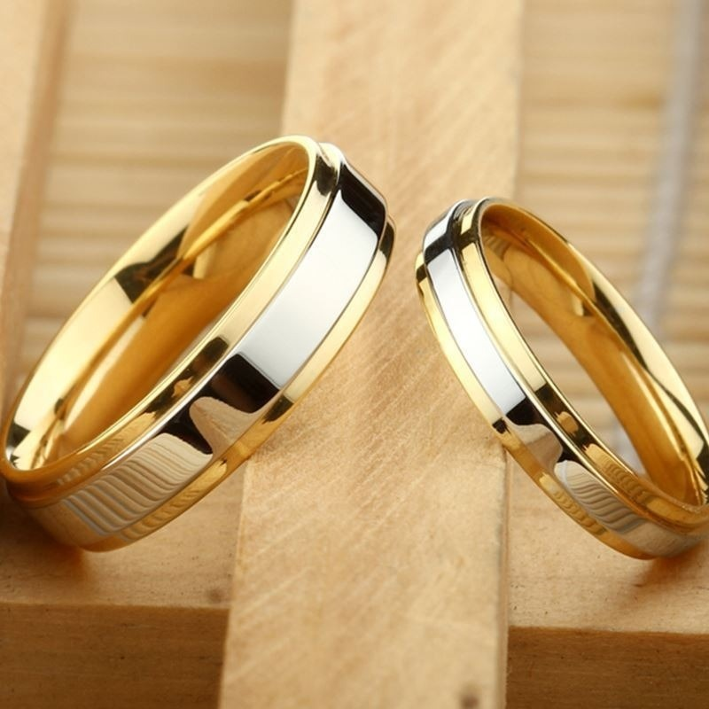 Novo design de moda simples 316 titânio aço masculino anéis amante casal anéis aliança ouro casamento banda anéis definir para mulher