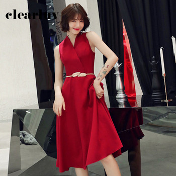 A-Line Shining Prom Dress DR303 Sleeveless Burgundy Formal Gowns V-Neck Party Dresses For Girls Ankle-Length Vestidos De Fiesta