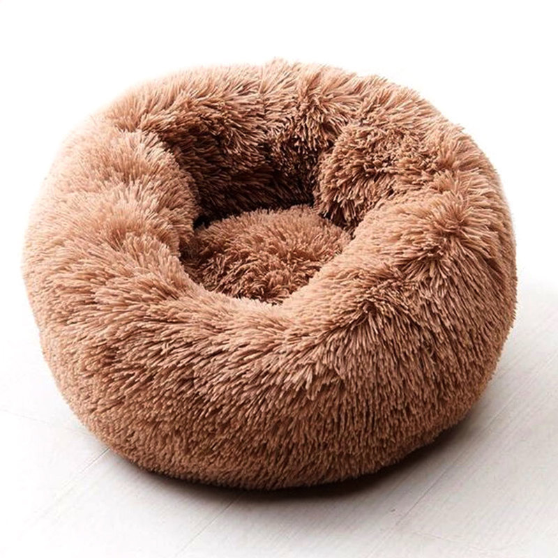 Super Soft Pet Dog Cat Round Bed Long Plush Winter Warm Sleeping Beds Bag Puppy Dog Cats Cushion Mat Portable Pets Supplies