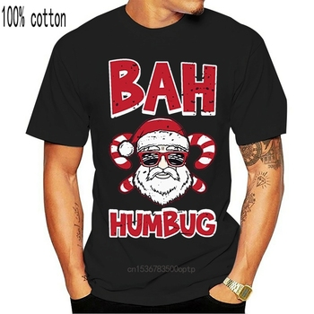 Funny Bah Humbug Santa Candy Cane Glasses Anti Xmas Hate Tshirt Men Humorous Men's T Shirts Awesome Male image