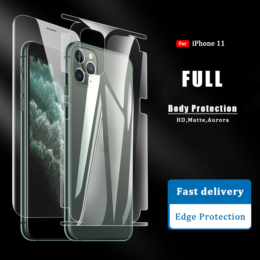 Front+Back Full Body Protect Screen Protector Back Protector For IPhone 11 Pro Xs Max X XR X HD Matte Full Cover Edge Not Glass
